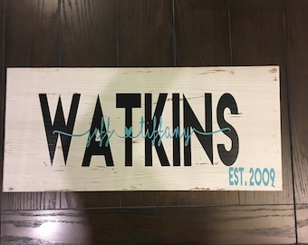 Rustic Wood Family Name Sign