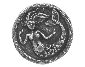 Green Girl Small Mermaid 9/16 inch ( 15 mm ) Pewter Metal Button Antique Silver Color