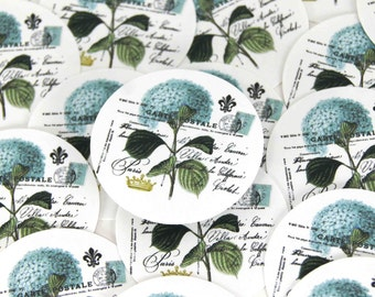Stickers Envelope Seals Blue Hydrangea Flower Stickers Hydrangea Stickers