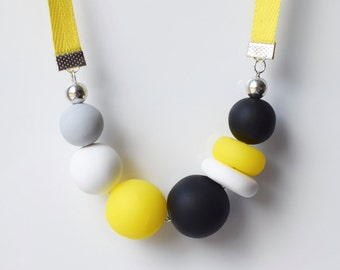 Ribbon statement necklace, Yellow chunky necklace, Round necklace, Yellow beaded necklace, Modern bead necklace, Urban jewelry, Polymer clay