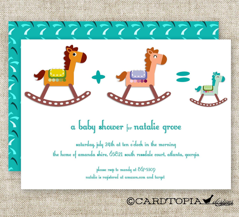 BOY BABY SHOWER Invitations Rocking Horse Digital diy