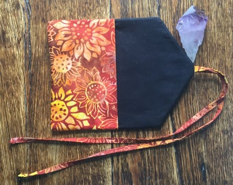 Traveling tarot clutch bag in cotton batik sunflowers red rust orange yellow black and gold -ready to ship-