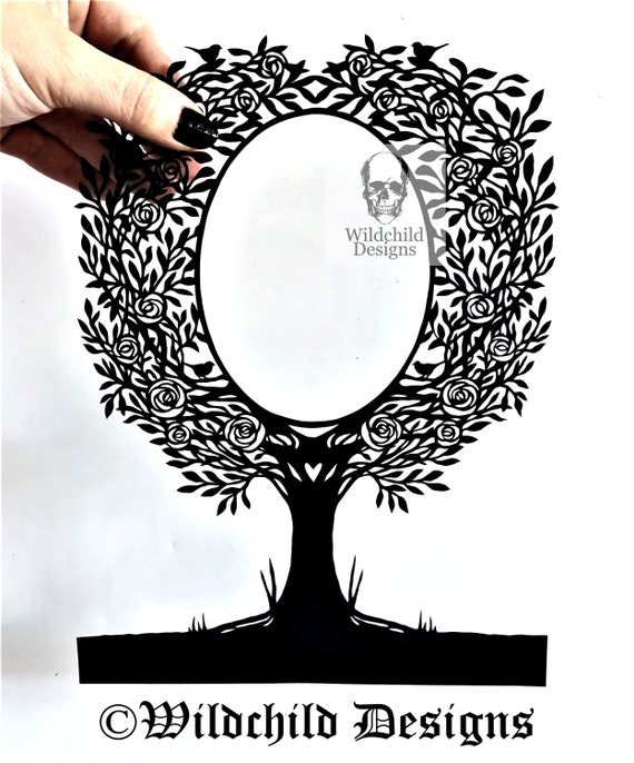 Rose Tree Frame Paper Cutting Template Commercial Use Vinyl