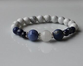 COMMUNICATE CALMLY Healing Crystal Stretch Bracelet - Stackable Gemstone Intention Bracelet