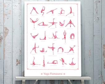 Pink Flamingo yoga poster with 25 asanas, 18 x 24 poster