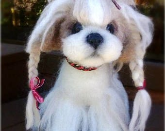 "Handmade toys made of wool in felt technology Dog ""Shih Tzu"""