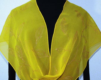 Silk Scarf Gold Yellow Hand Painted Shawl GOLDEN DAYS, in 3 SIZES. Anniversary Gift. Birthday Gift. Bridesmaids Gift, Mother's Day Gift