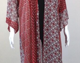 Red and White Long Kimono O/S