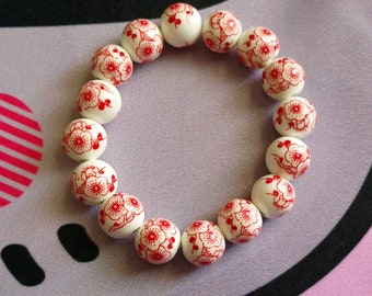 Red Asian Floral Porcelain Bead Stretch Bracelet