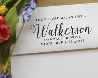 Wedding Address Stamp - Save the Date calligraphy address stamp - Future Mr. and Mrs. - rubber stamp - Custom Wedding Stamp