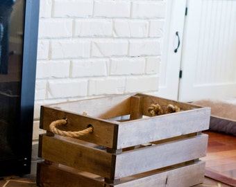 Beautiful Rustic Solid Wood Crate. Rustic Home Decor. Wedding Gift. Country Home Decor. Country Living. Farmhouse Decor. Storage.