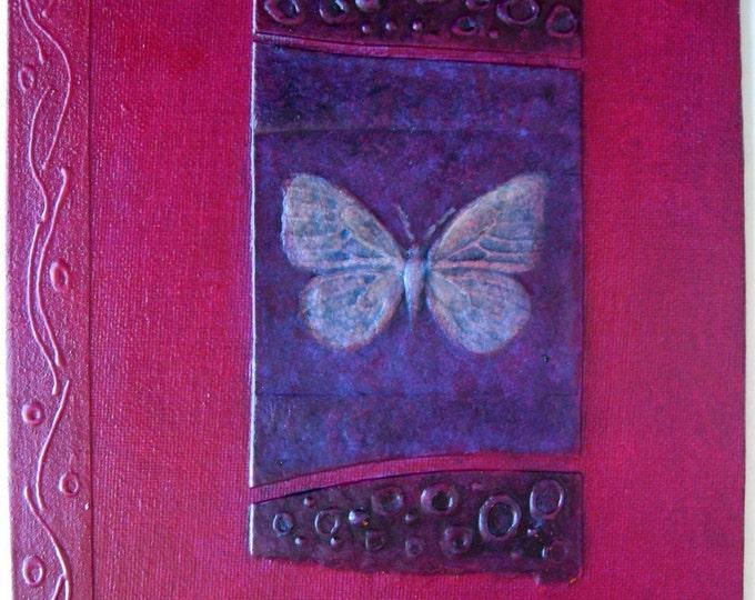 Refillable Journal Handmade Red Violet Butterfly 9x7 Original