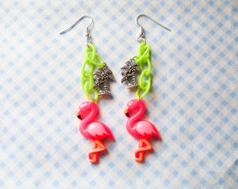 Flamingo Earrings, Flamingo Dangle Earrings, Long Flamingo Earrings, Tropical Earrings, Palm Tree Earrings, Exotic Earrings, Kawaii Kei