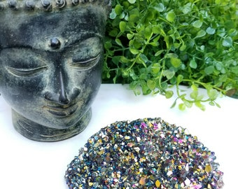 208 g Rainbow Aura Amethyst Crystal - Titanium Aura Amethyst - Crystal Healing, Reiki, and Crystal Grids