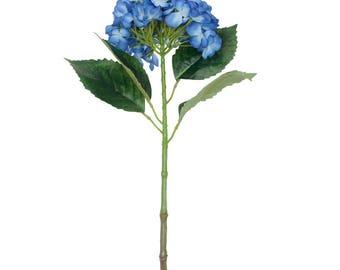 Kunstmatige Indigo blauwe hortensia bloem, H 63 cm