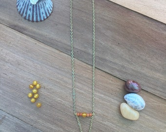 Faux Turquoise triangle drop necklace