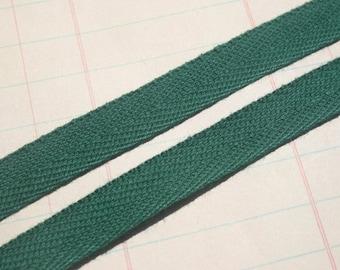 "Green Twill Tape Trim - Sewing Craft Cotton Twill - Dark Forest Green - 1/2"" Wide - 6 Yards"