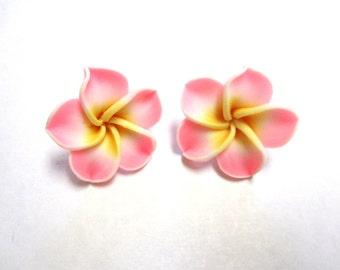 Soft Pink Floral Earrings Sweet Hibiscus Post Earrings