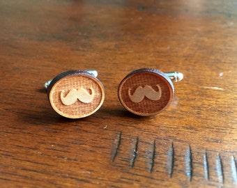 Mustache Wood Cufflinks
