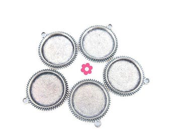 x 5 medium round cabochon silver pendant 16mm (64)