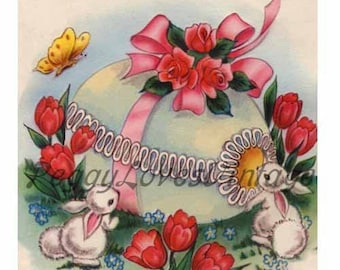 Easter 18 a Decorated Easter Egg with Tulips Roses and Bunnies a Digital Image from Vintage Greeting Cards - Instant Download
