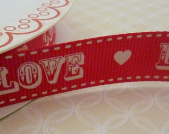 1m 'Love' Red Grosgrain Ribbon Vintage Style 16mm
