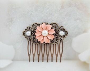 Coral Hair Flower - Daisy Hair Accessory - Pink Flower Hair Comb - Pearl Flower Hair Comb - Coral Hair Piece - Peach Floral Haircomb H2067