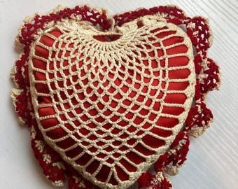 Lovely Vintage Crocheted Heart Pincushion