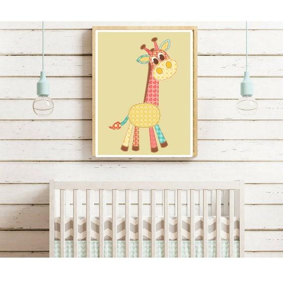 Giraffe PrintPatchwork Nursery PrintKids Wall ArtGiraffe