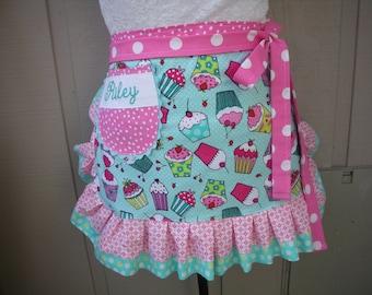 Aprons - Womens Cupcake Aprons - Monogrammed Aprons - Hot Pink Aprons -  Turquoise Cupcake Aprons - Annies Attic Aprons - AnniesAttic Aprons