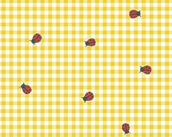 ORGANIC Cotton Ladybugs on Yellow Gingham Windham Fabrics BFFS Collection Carolyn Gavin Baby Quilt Summertime Tablecloth Children Sundress
