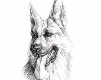 Custom Pet Portrait Order | Black & White | Pet Art | Portrait of your Dog | Portraits from Photo | Pet Portrait | Dog Lovers