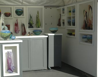 Trade Show Custom portable wall and cabinets - display for shop or booth - breaks down to travel