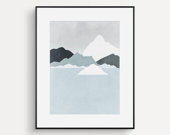 Mountains Print, Minimalist Wall Art, Scandinavian Print, Abstract Landscape, Mid Century Modern Art, Minimalist Poster, Iceland, Winter