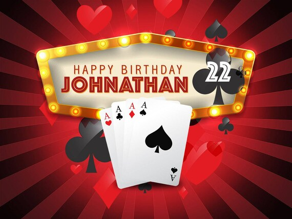 Large Ace Casino Playing Cards Birthday Banner Rummy Poster