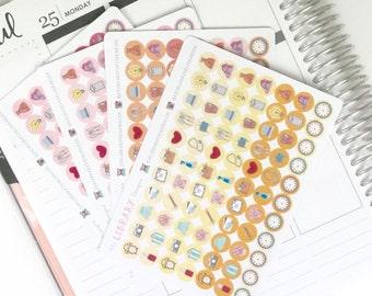 Hand Drawn Icon Dots Planner Stickers, perfect for Erin Condren, Filofax, Kikki K, Happy Planner, Inkwell Press