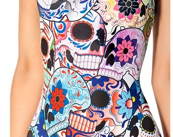 Day of the Dead one piece bathing suit.