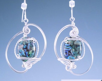 Handcrafted Sterling Silver Wire Sculpted Paua Shell Earrings
