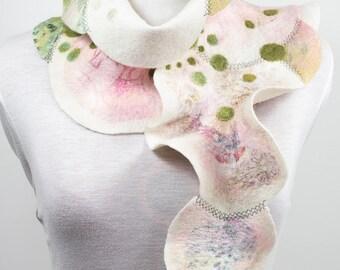 Nuno felted scarf-Felted scarf-Silk scarf-White scarf