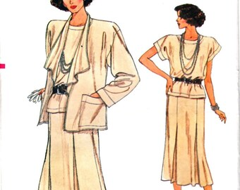 Vogue 9362 Woman Loose Fitting Shawl Collar Jacket, Inverted Pleat Flared Skirt, Shell Top Sewing Pattern Size 8-10-12 Vintage 1980's UNCUT