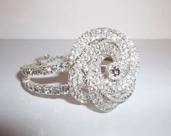 Bracelet Vintage Costume Jewelry White Diamond Rhinestone Adjustable Prom Pageant Wedding Bride Bridal Sparkly Glam Glamorous wvluckygirl