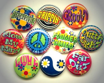 "TRIPPIN Flower Child HIPPIE Slang 1960s 10 Pinback 1"" Buttons Badges Pins"