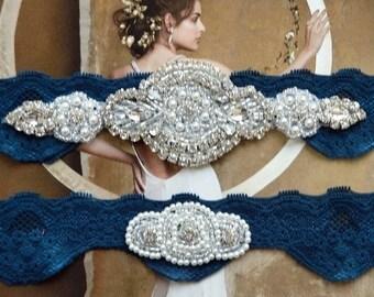 Crystal Rhinestone Bridal Garter Set Wedding Garter Navy Blue Lace Garter Rhinestone Crystal Bridal Garter Rhinestone Garters