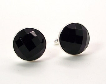 Noir Nights Cufflinks – Black Onyx Cufflinks – Faceted Black Onyx Cufflinks – Black Cufflinks - Onyx Cufflinks
