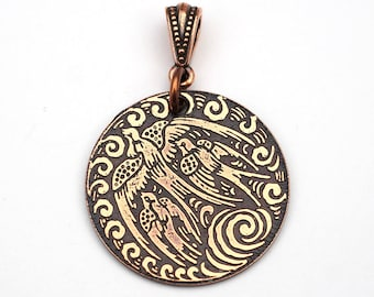 Etched copper swallows pendant, round flat triple bird jewelry, 28mm