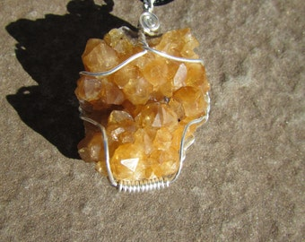 Citrine Crystal Pendant - Untreated Citrine Healing Crystal Cluster Wire Wrapped in Sterling Silver - Druzy Raw Crystal Necklace