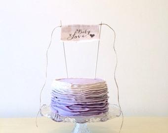 Baby Love - Baby Shower Cake Topper - Linen Banner Style