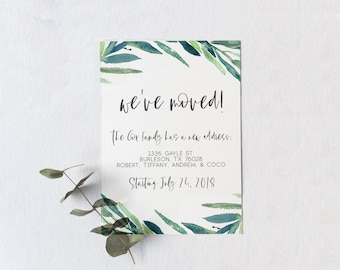 Moving Announcement Card, 5 x 7 Eucalyptus Moving Announcement Card