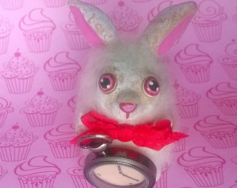 The White Rabbit from Alice in Wonderland Miniature OOAK Polymer Clay Doll Figurine Fairy Tale Gift Cute Collectible Bunny