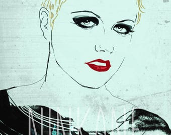 Dolores O'riordan print, Dolores O'riordan fanart, the craanberries, grunge music, 90's